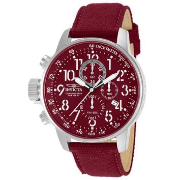 Invicta 11523 Men's I Force Lefty Chronograph Burgundy Dial Burgundy Canvas and Leather Strap Watch