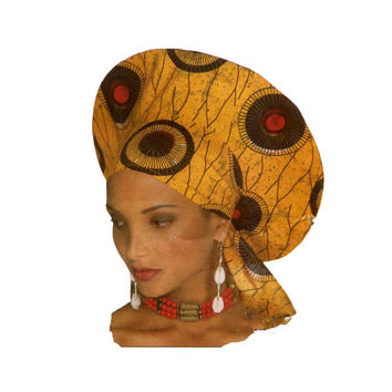 90s AFRICAN HAT PATTERN Headwrap Stole from Design Rewind | At