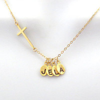 Personalized, Letter, Initial, Leaf, Cross, Gold filled, Sterling silver, Chain, Necklace, Cross, Jewelry, Custom, Initial, Gift, Jewelry