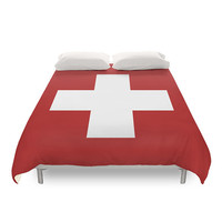 Swiss Cross Duvet Cover, 5 Colors Options, Minimalist Geometric, Modern Duvets, Full Duvet, Queen Duvet, Red, Aqua, Grey, Black and White