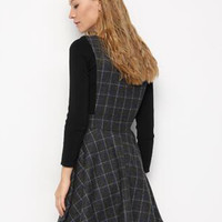 Gray Plaid High Waist Wool Blend Overall Dress