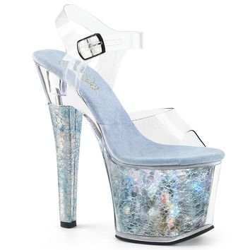 Platform Ankle Strap Sandal Featuring Textured Holographic