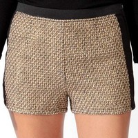 Knit Panel Metallic-Blend Shorts