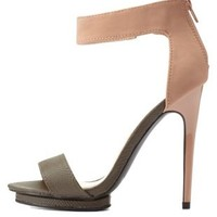 Nude Qupid Ankle Strap Platform Heels by Qupid at Charlotte Russe