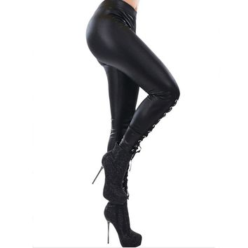 Gothic Faux Leather Lace Up Legging