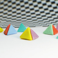 Pastel Geometric Resin Post Earrings - Triangle, Multiple Color Options, Handmade Jewelry