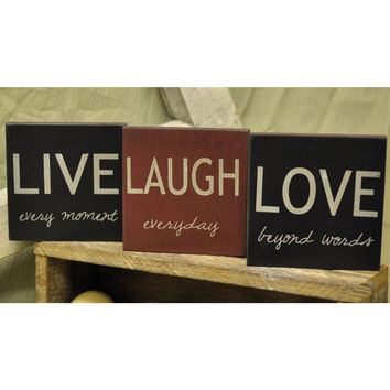 Live, Love, Laugh - Square Desk Sign Set of 3