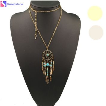 women necklace kolye colar Bohemian Ethnic Merry Dreamcatcher jewelry Dreamcatcher vintage Necklace Alloy vintage ornamentation