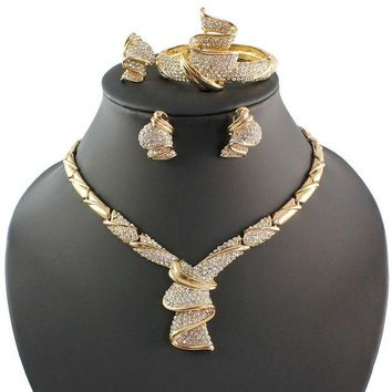 LMFXT3 Fashion Women 18k Gold Plated Africa Dubai Wedding Party Necklace Jewelry Set