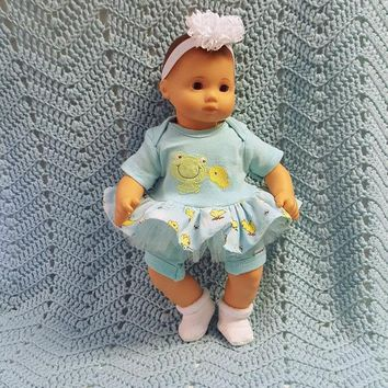 """Baby Doll Clothes to fit Bitty Baby """"More Pond Pals"""" (15 inch) doll outfit Will fit Bitty Baby® dress, shorts, socks, headband J3"""
