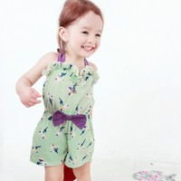 Vindie Baby Girl Mint Floral Design Romper Suit Jumpsuit