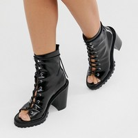 ASOS DESIGN Emma peep toe chunky lace up boots in black | ASOS