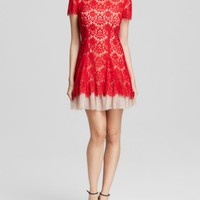 AQUA Dress - Short Sleeve Lace | Bloomingdales's