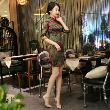 free shipping Three Quarter Sleeve Simple Vintage Preppy Style Plaid Qipao Short Chinese Cheongsam Dress silk qipao