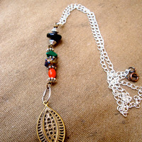 Golden Leaf Lariat Necklace for Women