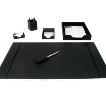 Dacasso School Office Boardroom Meeting Table Top Accessories Black Leather 6-Piece Econo-Line Desk Set