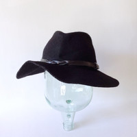 Floppy Brim Hat - Black Wide Brim Crease Crown Fedora - Wool Felt Cap - Black Strap - Southwestern