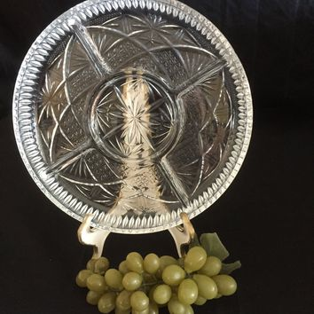 #0032 Divided glass relish tray