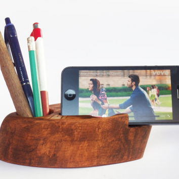 Wooden Desk Organizer, Rustic iPhone holder, Office organizer,  Pen Holder, iPhone 6 holder ,iPhone Stand, Desk Organizer, Wooden Pen Holder