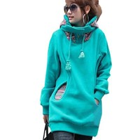 Allegra K Winter Novelty Prints Pockets Front Lined Hoodie for Women