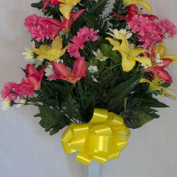 Tiger Lily Cemetery Vase with Pink/Fuchsia/Yellow Flowers - 28 Inch