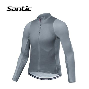 Santic Men's Summer Long Sleeve Cycling Jersey Tops New Road Mountain Bike Clothing Shirt Pro Bicycle Clothes Maillot Ciclismo