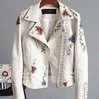 Floral Embroidery Leatherette Moto Jacket - White