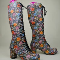 70s 80s Incredible Rare Unworn Floral Meadow Garden Flower Power Hippie Boho Lace Up Psychedelic Go Go Knee High Boots UK 6 / US 8.5 / EU 39