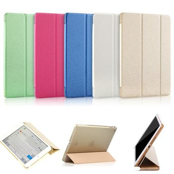 for iPad Mini 1 2 3  Leather Stand Support Flip Transparent Funda Capa Cover Case for iPad Mini 1 2 3 Foldable Clear Coque