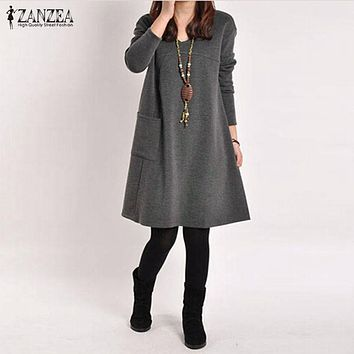 Vestidos  Spring ZANZEA Women Vintage Long Sleeve Pocket Dress Ladies Casual Loose Solid V Neck Dresses Plus Size