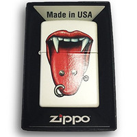 Zippo Custom Lighter - Tongue Piercing - Regular White Matte 214-CI404189