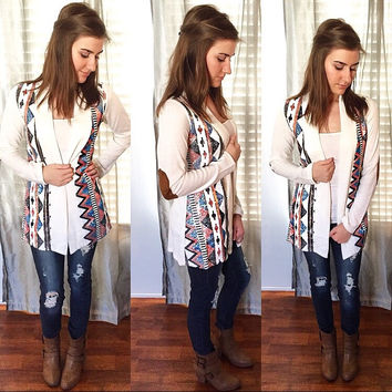 All In Sequins Elbow Patch Cardigan
