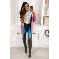 Too Cozy To Care Popcorn Knit Cardigan (Lavender)