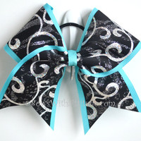 "3"" Wide Luxury Cheer Bow - Black Swirl with Teal Trim"