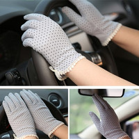 Fashion Female Cotton Antiskid Short Sunscreen Gloves Driving Gloves = 1958118852