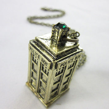 Necklace Unique Doctor Who 3D TARDIS Police Box Pewter Tall PENDANT Long Chian Necklaces