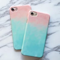 Fashion Colorful Gradient Case For iphone 7 Case For iphone7 7 PLus Phone Cases Cute Sweet Candy Color Graffiti Back Cover Capa -0316