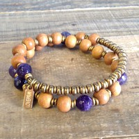 "Sandalwood and Amethyst ""Seventh Chakra"" 27 Beads Wrap Mala Bracelet"