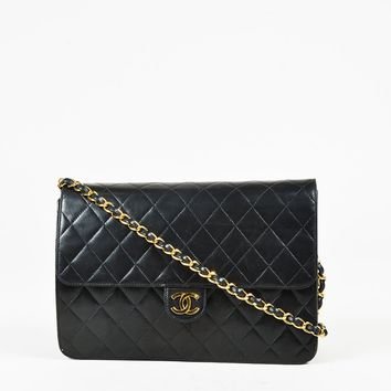 "VINTAGE Chanel Black Quilted Lambskin Leather ""Medium Classic Single Flap"" Bag"