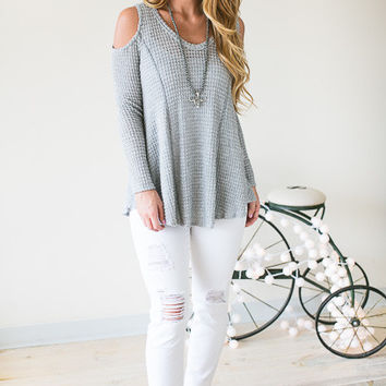 Feeling Textured Cold Shoulder Waffle Knit Top