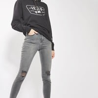 MOTO Grey Ripped Jamie Jeans | Topshop