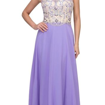 Lilac Illusion Beaded Bodice Long Prom Dress Sleeveless