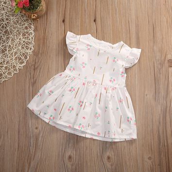 Newborn Baby Girl Dress Summer Ruffles Sleeve Cotton Clothes Cute Bebes Heart Princess Girls Party Dress