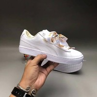 """Puma"" Women Casual Fashion Leather Bow Ribbon Plate Shoes Sneakers Small White Shoes"