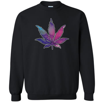 Galaxy Weed Leaf Unisex Crewneck Marijuana Leaf Weed Smokers Sweatshirt