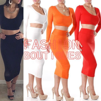 2014 New Fashion Two Piece Club Sexy Bandage Dress Women Long Sleeve High Waisted Cropped Outfit Bodycon Dresses D2001 = 1956787588