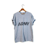 Army TShirt US Military Shirt 80s T Shirt Camo Grey Graphic Oversize Top Grunge Hipster Retro Tee Vintage Print Women Large Mens Medium