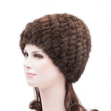 VONG2W Fashion autumn and winter thermal women's toe cap hat covering knitted fur mink hair pineapple hat