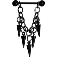 Handcrafted Black Spike Chain Dangle Nipple Ring | Body Candy Body Jewelry