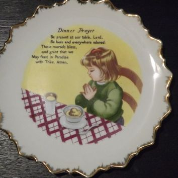 Sale Vintage Dinner Prayer Decorative Plate Arrow Jersey City NJ Made in Japan Wall Hanging Decor Religious
